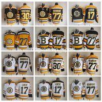 boston jersey lucic al por mayor-Boston Bruins 17 Milan Lucic Jersey 77 Ray Bourque 30 Gerry Cheevers Camisetas de hockey sobre hielo Vintage CCM Cosido Negro Blanco Amarillo