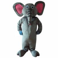 elefante mascote venda por atacado-Elefante Cinza Traje / Pink Eye Elephant Mascot Costume frete grátis