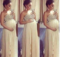 Wholesale Maternity Tops For Winter - Long Maternity Sexy Backless Prom Dresses 2016 For Pregnant Woman A Line Beaded Top Sweetheart Floor Length Chiffon Formal Evening Dress
