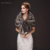 Wholesale Gray Fur Shawl - Gray Brown Faux Fur Bridal Wraps Winter Warm Jackets for Women Formal Party Dress Accessories Bolero Women