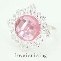 Wholesale Gem Napkin Ring Wedding Bridal - 100pcs lot pink Gem Silver Plated Napkin Rings Wedding Favors Napkin Cloth Rings Wedding Bridal Decor Napkin Holder