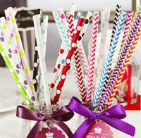 Wholesale paper straws striped - 2000pcs Free shipping Mixed Colorful Polka Dot Striped Paper Straw,Paper Straws, Drinking Straw,Party Drink straws