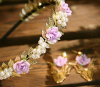 Wholesale Silicone Animal Bands - Leaves rose fine hair bands pink flower pearl headband girl sweet metal women vintage cute headdress
