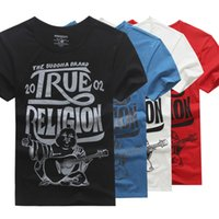 Wholesale NEW sales of foreign trade real tide brand summer T shirt V Mens T shirt collar and cotton print size faith T shirt man