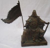 antike chinesische statuen großhandel-Sammlerstück Chinese Old Copper Carved Das Schwert Guan Gong Skulptur / Antique Guan Gong Statue
