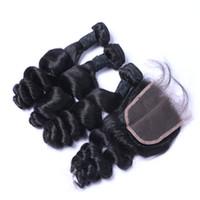 ingrosso sogno dei capelli umani-Capelli brasiliani con la trama dei capelli umani dell'onda sciolta 3Pcs di chiusura con i prodotti splendidi dei capelli di sogno di chiusura