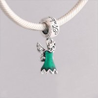 Wholesale Genuine Pandora Bracelets - Genuine 925 Sterling Silver Green Enamel Fairy Dress Dangle Charm Beads Fit Pandora Charms Bracelet Necklace DIY Jewelry Making