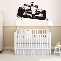 Wholesale Stick For Car - 57x32cm Racing Car Wall Sticker Peel and Stick Removable Art Mural Decal for Home Decoration Children's Bedroom Kids Room