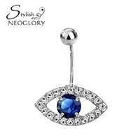 Wholesale Stylish Pearl Rings - Neoglory Stylish Cubic Zirconia Rhinestone Evil Eyes Piercing Navel Bell Button Body Fashion Jewelry for Women 2016 New Brand BN