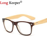 Atacado - Long Keeper 2017 Retro Bamboo Glasses Frame Men Women Eyeglasses Madeira Spectacle Frames Wooden Temple Foot Eyewares Optical