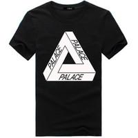 Wholesale Mens Printed T Shirts Sale - Hot Sale PALACE T-Shirt Crew Neck Short Sleeve Mens Summer Cotton Tees White Black Skateboards Sport Shirt Women Triangle Tee