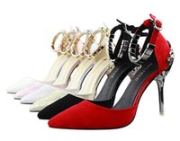 Wholesale Sex Dress High Heel - Summer sex appeal carve patterns or designs aureate high-heeled shoes pointed shallow mouth word buckle fine with hollow out shoes