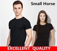Wholesale Mens Clothes Small - t shirt men brand clothing summer solid t-shirt male casual tshirt fashion Top Small Horse Embroidery mens short sleeve plus size 5XL