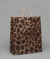 Wholesale Leopard Paper Gift Bags - Leopard Grain,Zebra Brown paper bags Paper Gift Bag With Handle Wedding Party Favor Gift Wrap Birthday Gift Packaging 30pcs lot