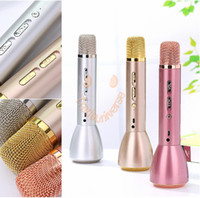 Wholesale Ktv Computer Microphone - K088 Microphone Wireless Bluetooth Karaoke Microphone Speaker Portable KTV Music With Power Bank For IOS Android Phones Gold Silver Rose