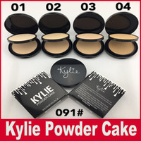 Wholesale Double Cake Box - Kylie Pressed Face Powder Foundation Double Layer Black Box Kylie Jenner Cosmetics Face Makeup 4 Colors Powder Cake