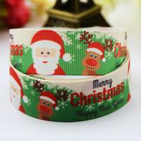 Wholesale Diy Santa Accessories - Merry Christmas Santa Claus Reindeer Snowflake Grosgrain Ribbon Kids Girls Xmas Festival Party Jewelry Accessories DIY Decoden 100yards