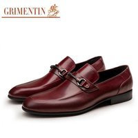 Wholesale Italian Slingbacks - 2017 Brand Wedding Mens Dress Shoes Genuine Leather Slip On Black Borwn Italy Luxury Daily Work Italian Shoes Men