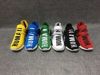 Wholesale Cotton Lace Buy - Pharrell Williams NMD HUMAN RACE shoes for Mens Womens In Black,White,Yellow,Green,Blue,White and Grey buy cheap and Free Shipping