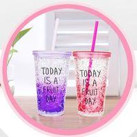 Wholesale Wholesale Plastic Beaker - Wholesale- Iced Coffee Juice Water Plastic Drink Cup Candy Colors 450ML Milk Smoothie Bottle Beaker Lid With Straw Drinkware