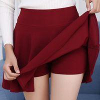 falda maxi roja más el tamaño al por mayor-Maxi Faldas Plisadas Las Mujeres Previenen la Exposición Colores del Caramelo Falda Pantalones Cortos Más Tamaño Rojo Blanco Azul Alta Elasticidad Plisado Saia