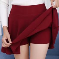 белые короткие юбки оптовых-Maxi плиссированные юбки женские предотвращают экспозицию конфеты цвета юбки шорты Большой размер красный белый синий высокая эластичность плиссированные Saia