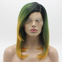 Wholesale Wig Golden - Iwona Hair Lace Front Synthetic Wig Straight Medium Long Dark Root Green Golden Ombre Wig 1#111 Half Hand Tied Heat Resistant Wigs