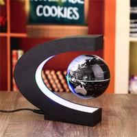 Wholesale Wholesale Floating Globe - Novelty C Shape LED World Map Floating Globe Magnetic Levitation Light Antigravity Magic Novel Lamp Birthday Home Dec Night lamp