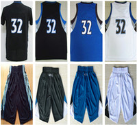 Wholesale Game Uniform Red - Cheap Wholesale Minnesota Center forward 32 Karl-Anthony Towns embroidered premier game uniform black white pant basketball Jerseys