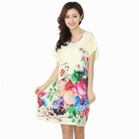 Wholesale white cotton nightgowns wholesale - Wholesale- Printed Female Sexy Floral Nightdress Robes Summer Women Cotton Nightgown Chinese Style Sleepwear pijamas mujer One Size