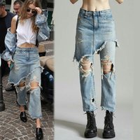 Wholesale Distressed Jeans Woman - Wholesale- Fashion Ladies Cropped Flare Distressed Jeans Women Vintage Fringe Edges Tassels Ripped Jeans Femme Denim Pants with Hole