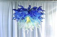 candelabros de cristal de colores modernos al por mayor-LR767-Antique Colored Murano Glass Chandeliers Wholesale Hotel Lobby Modern Crystal Chandeliers en venta Lámpara de cadena decorativa LED