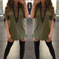 v schiffshirts großhandel-2017 Sexy Baumwolle Plus Größe Kleider Mode Kurzarm Herbst Sommer Beiläufige Lose V-ausschnitt Mini T-Shirt Kleid Frauen Kleidung Freies Verschiffen
