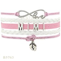 Wholesale Charms Mimi - Custom-Infinity Love Mimi Feet Metal Charm Wrap Bracelets Christmas Gifts Bracelet Pink Hot Pink Leather Custom Womens Bracelets