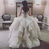 Wholesale Gold Chains Images - Amazing Lace Tiered Wedding Dresses 2017-2018 Sheer Neck Sleeveless A Line Bridal Gowns With Beading Chain On Back Wedding Vestidos