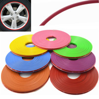 Wholesale Car Moulds - Wholesale- Universal 8M Roll Car-styling Car Vehicle Color Wheel Rims Protector Care Tire Guard Line Rubber Moulding Trim Car Sticker