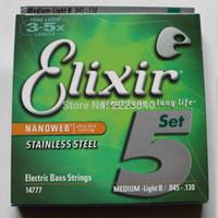 accessoires de basse guitares achat en gros de-Elixir 14777 basse cordes 5 guitare électrique basse chaîne 045-130 instrument de musique pièces accessoires de guitare 1 set + Livraison gratuite