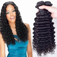 Wholesale human hair wefts deep waves for sale - Group buy Unprocessed Peruvian Human Remy Virgin Hair Deep Wave Hair Weaves Hair Extensions Natural Color g bundle Double Wefts Bundles