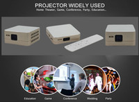 Wholesale Mini Hdmi Projector Free Shipping - Wholesale- Free shipping Full hd projector 1200 lumens Mini Pico Projector 4K Decoding DLP Display Portable with Android Bluetooth Wifi