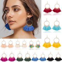 Wholesale Boho Fringe - Fashion Vintage Women Bohemian Earrings Long Tassel Fringe Crystal Boho Long Tassel Hook Drop Dangle Earrings Jewelry