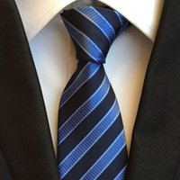 Wholesale Tie Knot Gifts - 18 styles 8cm Classic Woven Tie Men Elegant Necktie Blue With Black Diagonal Stripes Neck Ties To Match Shirt Fashion Accessories Gift HOT