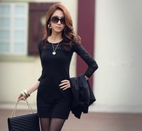 Wholesale Lace Long Sleeve Clubwear Dress - New Women's Long Sleeve Neck Sexy Clubwear Party Cocktail Lace Mini Dress And Free gift belt 382