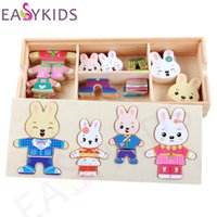 Atacado- Baby Rabbit Bear Change Clothes Puzzle Multifuncional Brinquedos de madeira Educacional Magnetic Puzzle Animal Kids Jigsaw Drawing Easel
