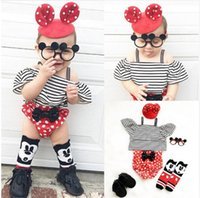 Wholesale Striped Girls Tank Top - Baby outfits baby girls stripe falbala fly sleeve tank top +ruffle polka dot bows shorts 2pcs sets INS summer new toddler kids clothes T2869