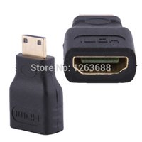 Wholesale Mini Hdmi Connector - Mini HDMI Male Type C to HDMI Female Type A Adapter Connector For 1080p 3D TV HDTV Free Shipping