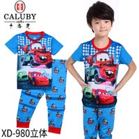 Wholesale Mcqueen Baby Clothes - 2016 baby lighting mcqueen clothes wholesale cartoon 2 piece suit boys long sleeve t-shirts pants clothing kids cotton sets size 2-7Y XD-866