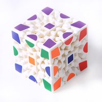 Wholesale 3d stickers puzzles - Wholesale- 3D Cube Puzzle Magic Cube 3 x 3 x 3 Gears Rotate Puzzle Sticker Adults Child's Educational Toy Cube MU838759
