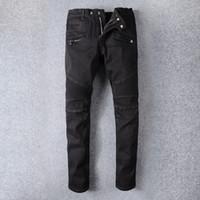 Wholesale Vintage Pants Men Plaid - Men's Black Skinny Biker Elastic Jeans VINTAGE Brand Designer Slim Fit Mens Motorcycle Moto Denim Hip Hop Pants For Men N38