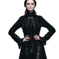 Wholesale Visual Kei - Wholesale- Brand Punk Gothic Single Button Female Victorian Jacket Women Ladies Visual Kei Black Flocking Coats Slim Fit Steampunk Clothing