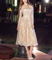 Wholesale Long Dresses Uk Online - Stunning Gorgeous 2 Two Piece Lace Evening Dresses With Jacket Tea Length Formal Prom Dress Party Homecoming Gowns 2017 US UK Online Sale